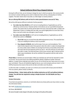 Uniforms direct pay and deposit scheme